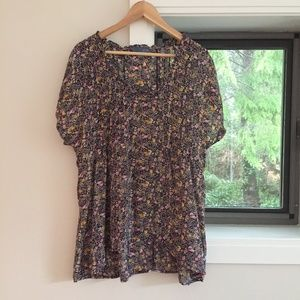 100% Silk Floral Blouse